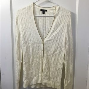 White Cable Knit Cardigan with Gold Trim